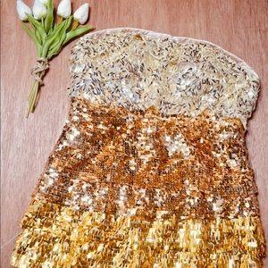 Bebe Strapless Gold Sequin Ombré Dress